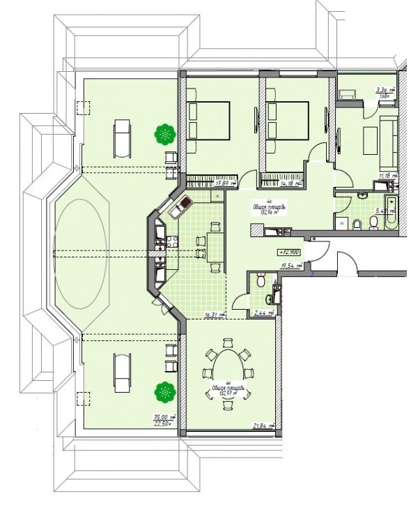 Планировки многокомнатных квартир 132.96 м^2